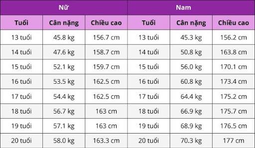 chiều cao cân nặng chuẩn từ 13 đến 20 tuổi