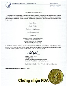 FDA Hoa Kỳ - Viên uống Collagen Nubest Plus