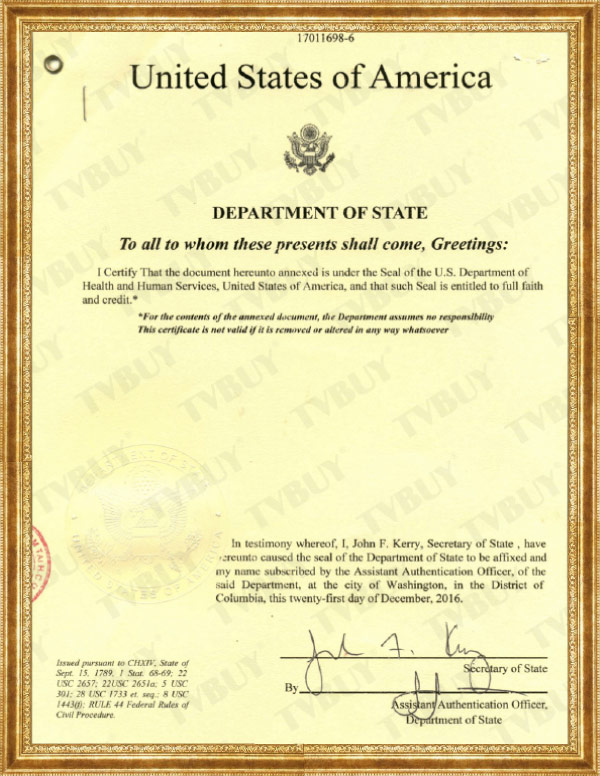 xác nhận của bộ ngoại giao hoa kỳ