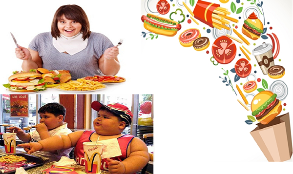 Thức ăn nhanh chứa nhiều Calo gây béo phì.