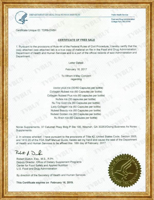 Chứng nhận FDA Hoa Kỳ của COLLAGEN NUBEST