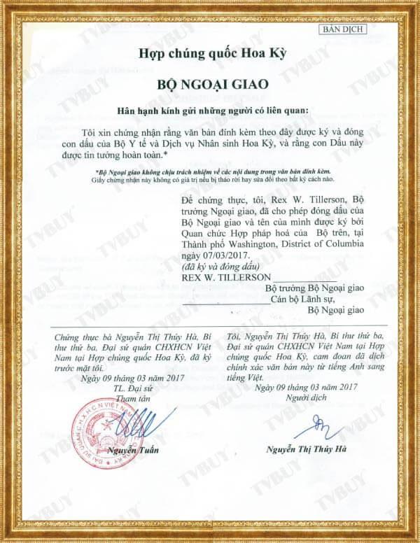 Biên dịch xác nhận của Bộ Ngoại Giao Hoa Kỳ - bởi Đại sứ quán Việt Nam