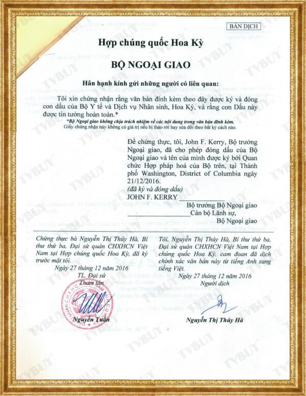 Bản dịch xác nhận của Bộ Ngoại Giao Hoa Kỳ - bởi Đại sứ quán VN