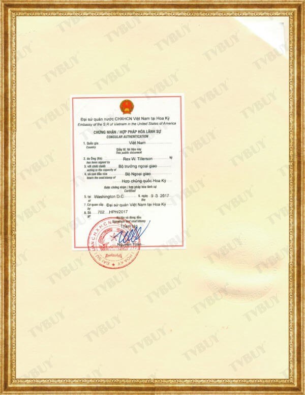 Chứng nhận hợp pháp hóa lãnh sự của Đại Sứ Quán Việt Nam cho FDA của NUFALA