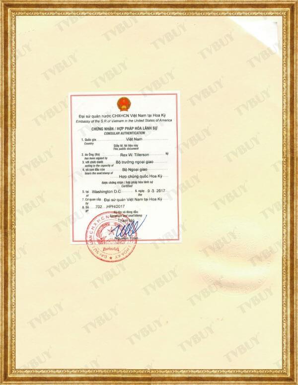 Chứng nhận hợp pháp hóa lãnh sự của Đại Sứ Quán Việt Nam cho FDA của NUTRIP GOLD