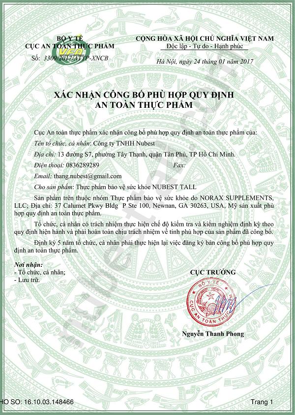 NUBEST TALL đã được Bộ Y tế Việt Nam cấp giấy xác nhận công bố lưu hành trên toàn quốc