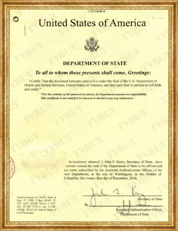 chữ ký và con dấu của FDA Hoa Kỳ