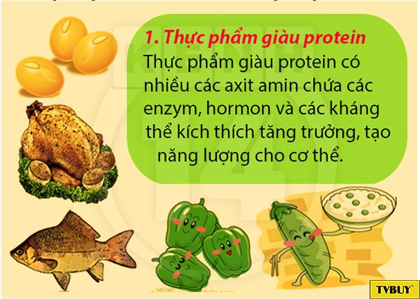ăn thực phẩm giàu protein để tăng chiều cao